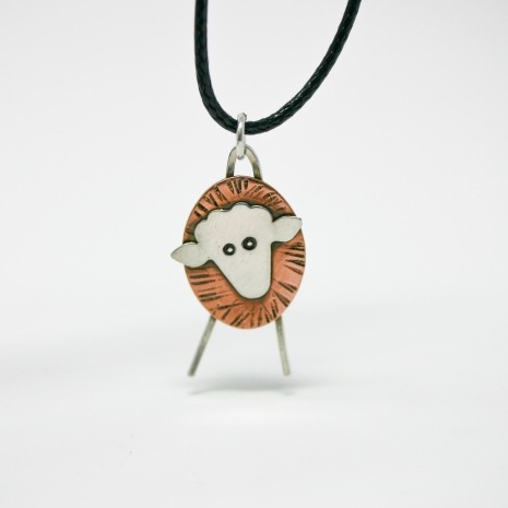 Sheep Necklace - Mixed Metal Pendant