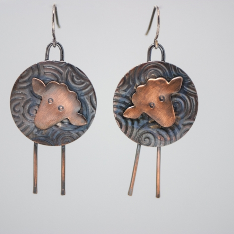 Sheep Earrings made of copper