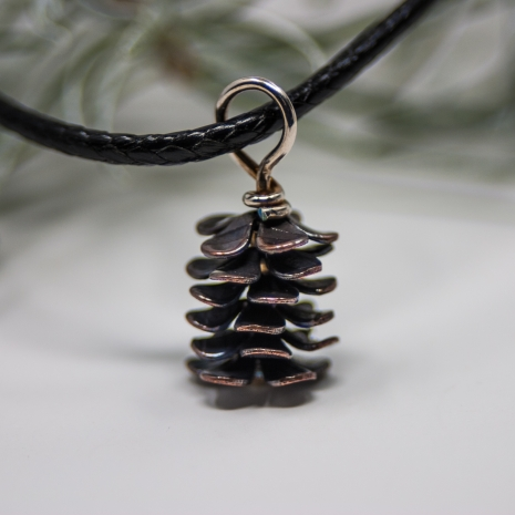 Mini Handmade Copper Pine Cone Pendant