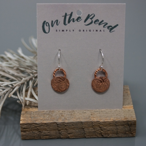Copper Earrings - Small Disc Dangles