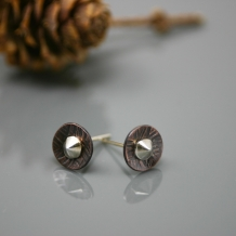 Mixed Metal Stud Earrings for Men and Women