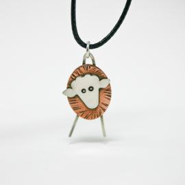 Sheep Necklace - Mixed Metal Pendant