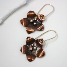 Handmade Copper Floral Earrings