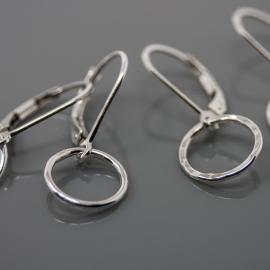 Mini Silver Hoop Earrings on Leverbacks