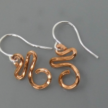 Swirly Curly Earrings Silver Copper