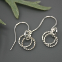 Double Circle Twisted Silver Earrings