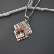 Modern Geometric Silver and Copper Pendant